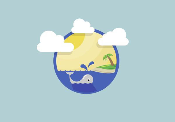 Oceanside illustration created using Adobe Illustrator shapes