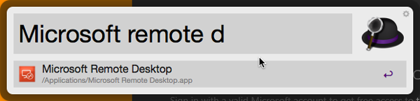 Typing Microsoft remote d in Alfred
