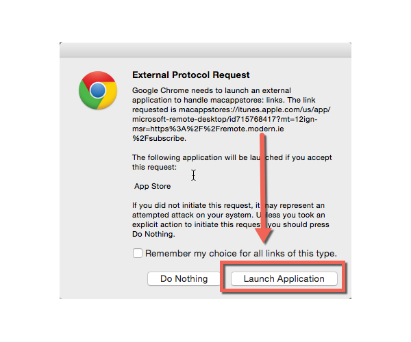 Chrome confirmation page