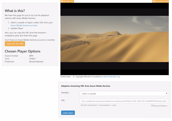 Azure Media Services Player