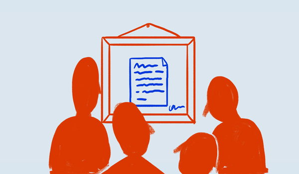 Illustration of people looking at an article in a frame