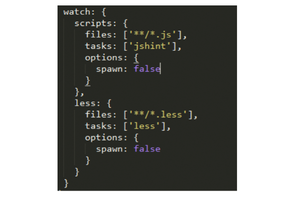 code to specify a configuration for each task you want to cover using watch