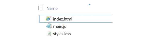 list of files indexhtml mainjs and stylesless