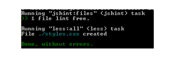 Running less task done without errors