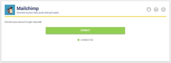 Mailchimp connection page