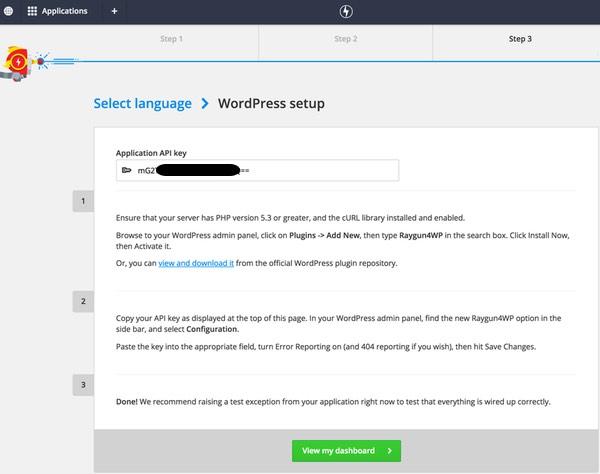 Raygun WordPress setup