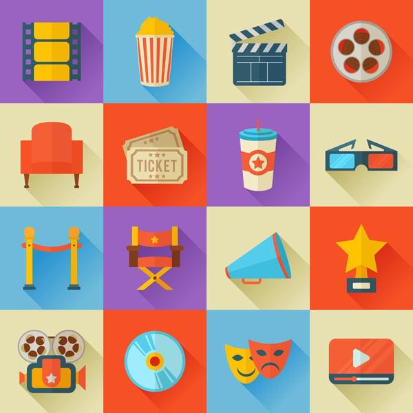 Flat design movie icons