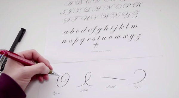 Screenshot from script lettering course on Envato Tuts