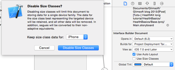 Xcode - Disabling Size Classes