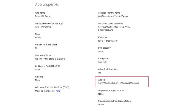 App ID in Windows Phone Dev Portal