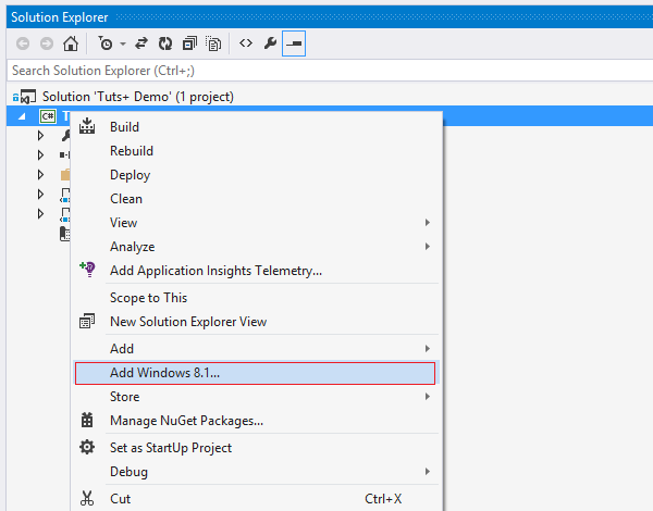Add Windows 81 app to existing Windows Phone 81 project