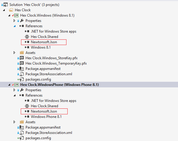 Adding same assembly reference to both projects