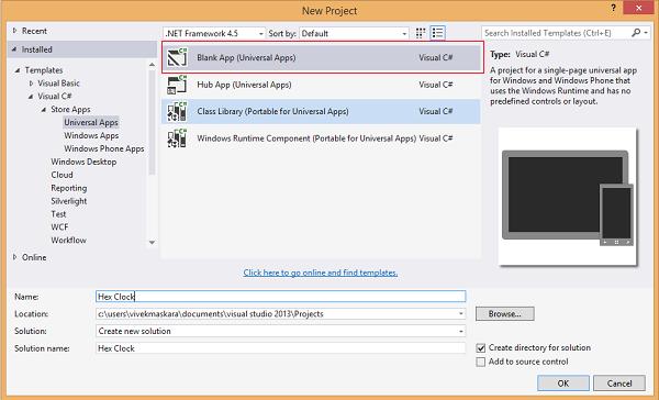 Universal Windows app templates