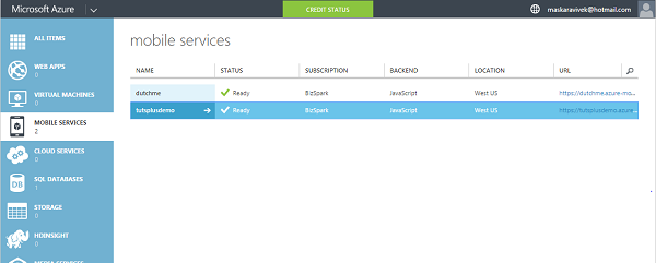 Select Mobile Service in Azure Management Portal