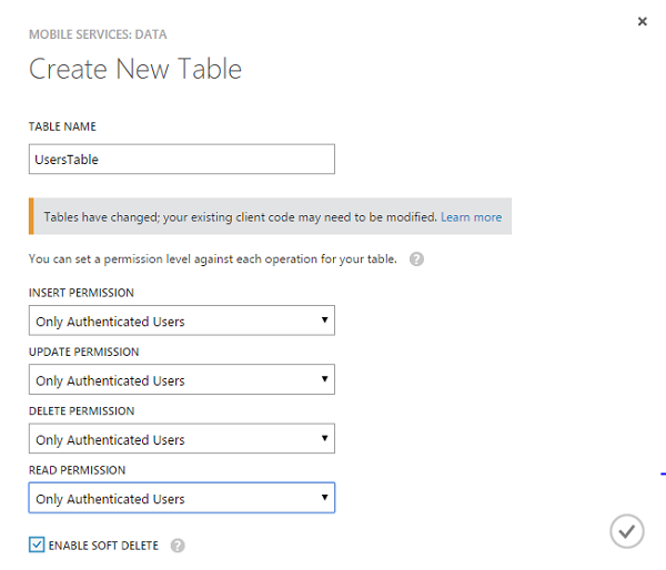 Restrict table permissions to authenticated users