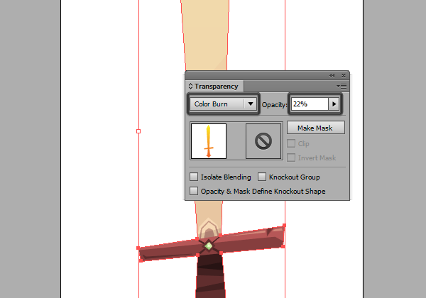 sword gradient with Color Burn overlay