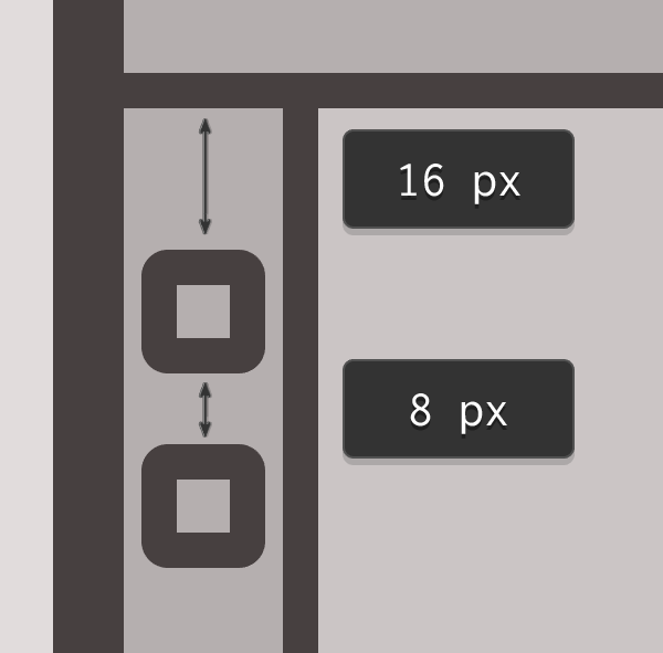 positioning the stamps left side interface buttons