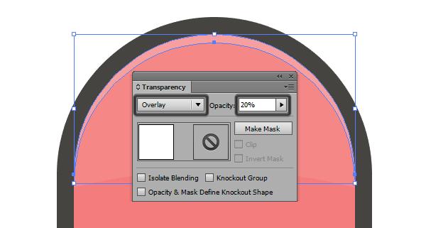 adjusting the blending mode for the curved highlight
