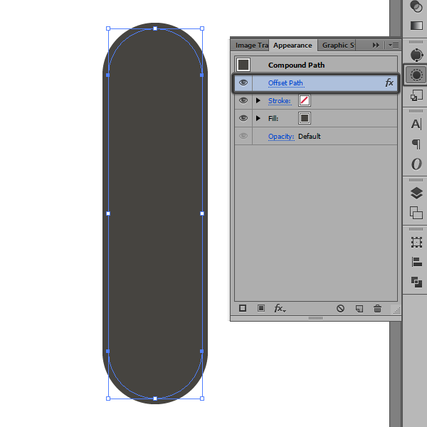 adjusting the offset path settings using the appearance panel