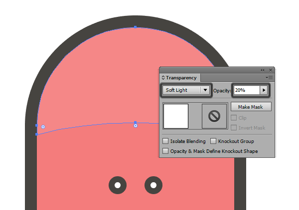 adjusting the blending mode for the top section highlight