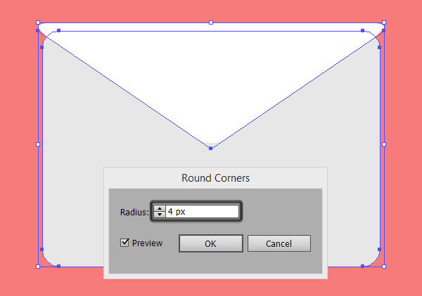 applying a round corner effect to the top folded section of the email icon