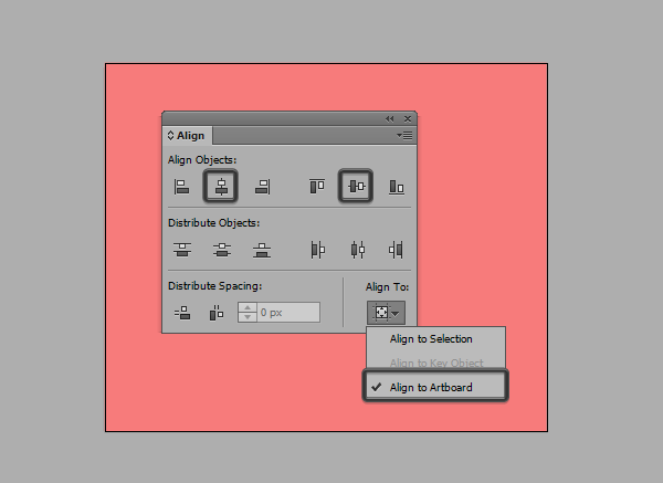 positioning the background using the align panel