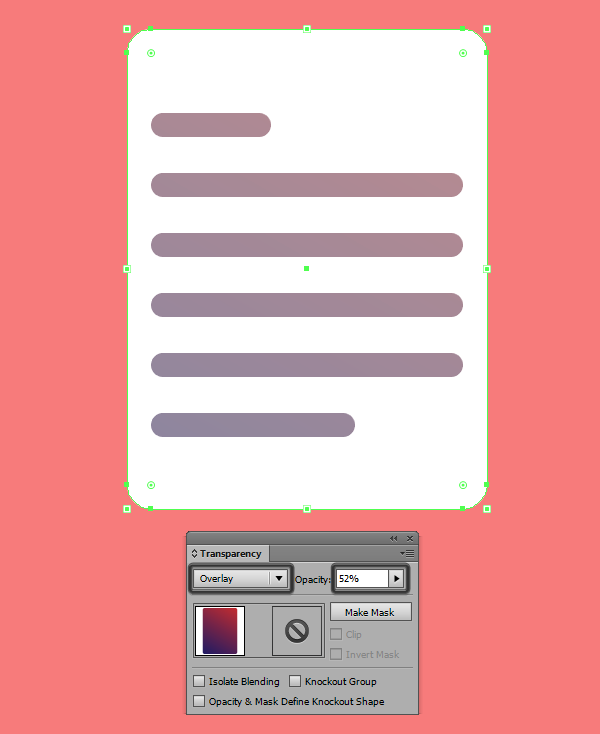 setting up the blending mode for the gradient