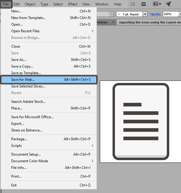 exporting for the web using the layers method