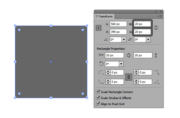 20x20 px square example