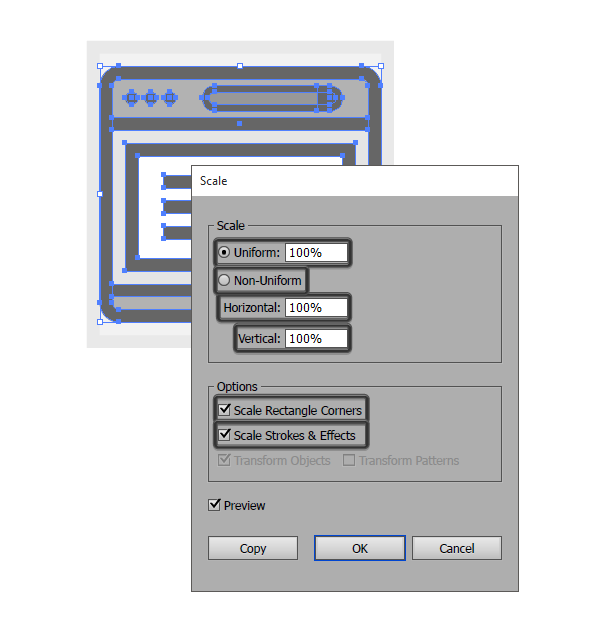 default scale tool options