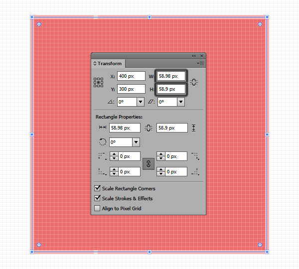 example of incorrect use of width and height values enlarged