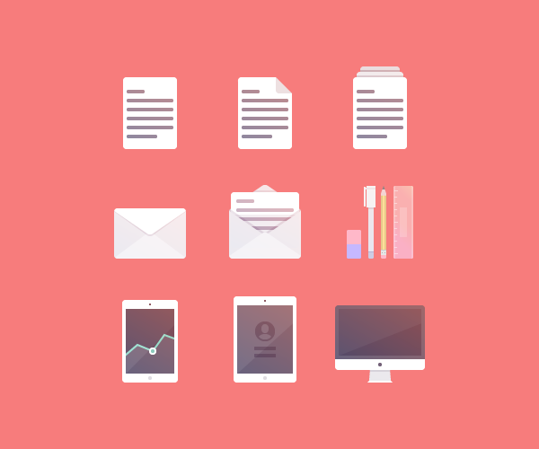 example of icons built using simple shapes