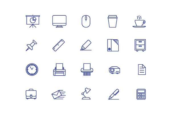 example of icons built using simplicity as a principle