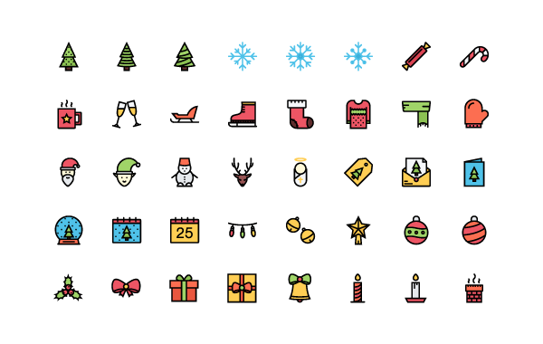 example of line icons with fill shapes