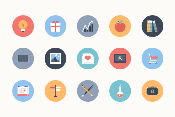 Example of flat style icons