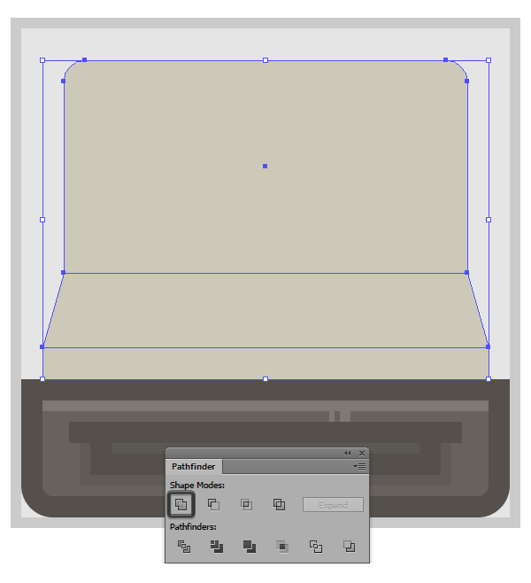 using pathfinder to create the upper section of the camera