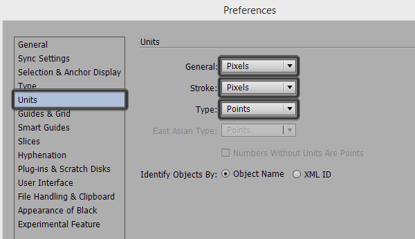 adjusting the units settings