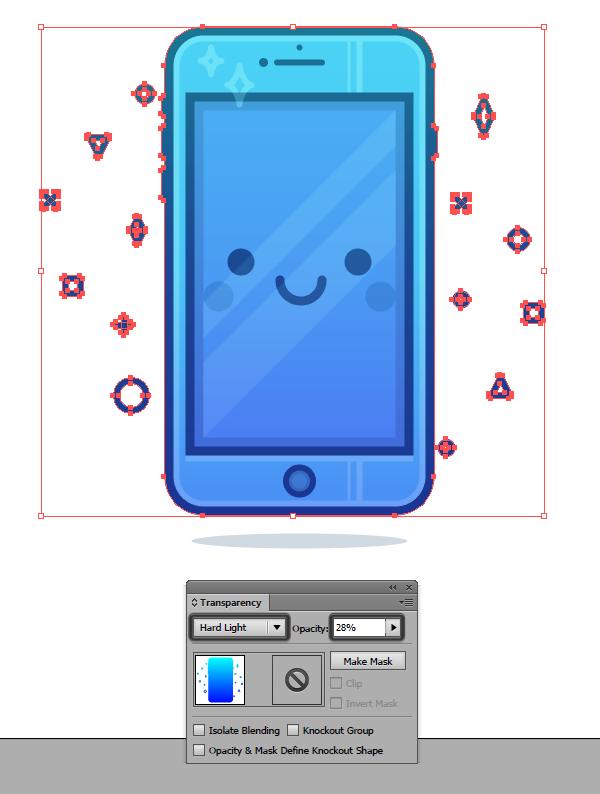 adjusting the blending mode for the gradient