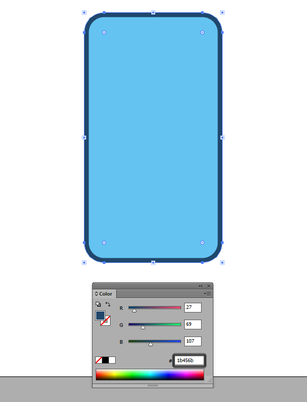 coloring the phones outline using a darker hue