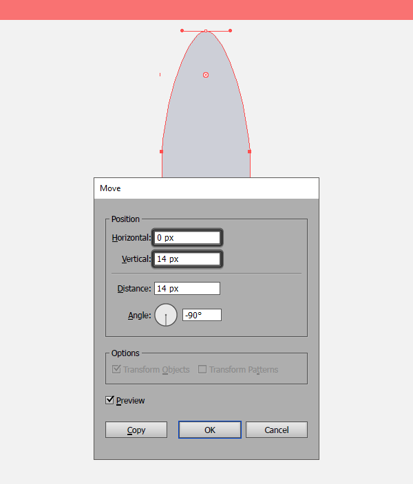 using the move tool to adjust the shuttles top anchor points