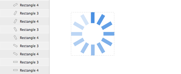 Loading icon created from individual rectangles in Sketch