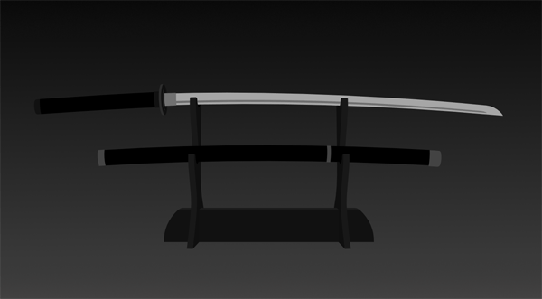 Sword and stand with basic shapes finished