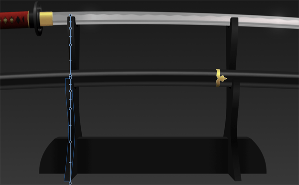 Add a Linear Gradient from top to bottom on each of the front-facing parts of the stand legs