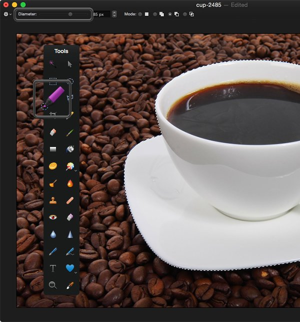Select the tea cup with the Paint Selection Tool
