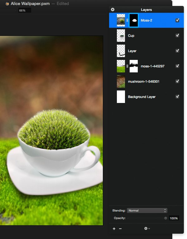 Adjust the ball of moss and refine the mask so it sits inside the tea cup