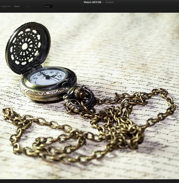 Select and refine the selection for the pocket watch