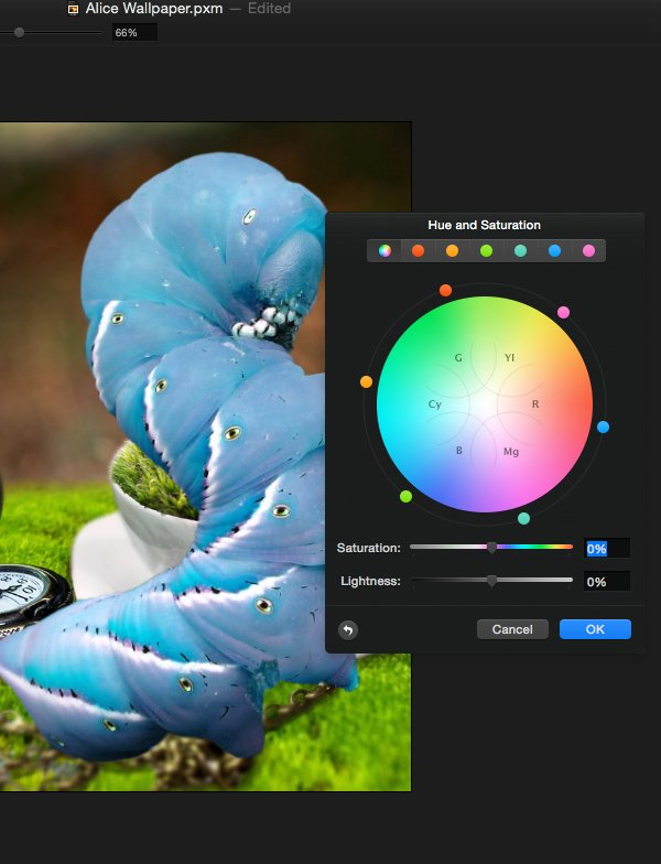 Adjust the hue of the caterpillar so it is blue
