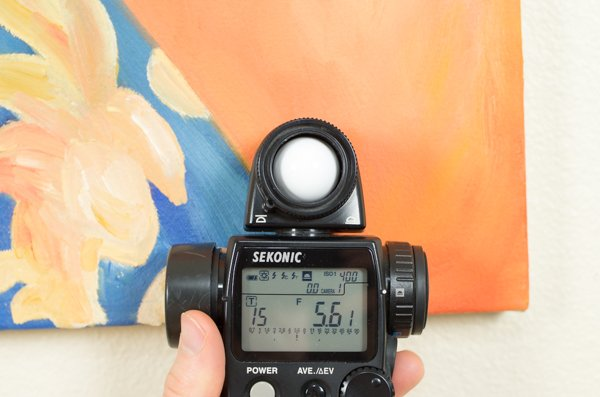 Checking exposure on a light meter