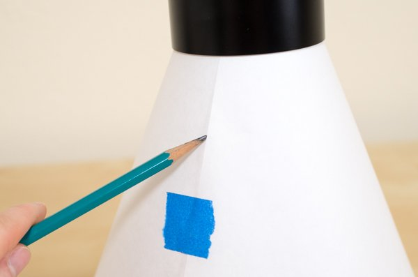 Marking lines on a paper cone