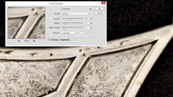 Adjusting image sharpness on a computer